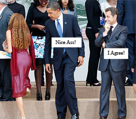 Obama check out a girl's ass at an international summit